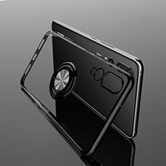 Silikon Hülle Handyhülle Ultradünn Schutzhülle Tasche Durchsichtig Transparent mit Magnetisch Fingerring Ständer C04 für Huawei P20 Pro Schwarz