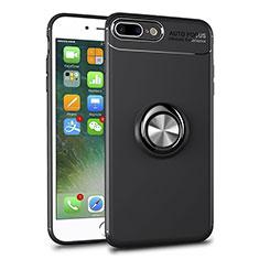 Silikon Hülle Handyhülle Ultradünn Schutzhülle Tasche Durchsichtig Transparent mit Magnetisch Fingerring Ständer S01 für Apple iPhone 8 Plus Schwarz