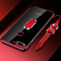 Silikon Hülle Handyhülle Ultradünn Schutzhülle Tasche Durchsichtig Transparent mit Magnetisch Fingerring Ständer S01 für Huawei Honor 7A Rot