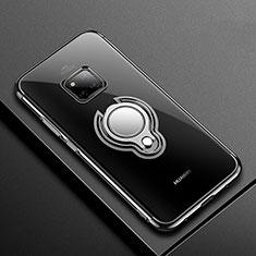 Silikon Hülle Handyhülle Ultradünn Schutzhülle Tasche Durchsichtig Transparent mit Magnetisch Fingerring Ständer S01 für Huawei Mate 20 Pro Schwarz