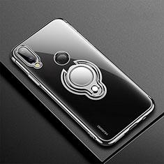 Silikon Hülle Handyhülle Ultradünn Schutzhülle Tasche Durchsichtig Transparent mit Magnetisch Fingerring Ständer S01 für Huawei P20 Lite Schwarz