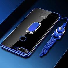 Silikon Hülle Handyhülle Ultradünn Schutzhülle Tasche Durchsichtig Transparent mit Magnetisch Fingerring Ständer S01 für Huawei Y6 (2018) Blau