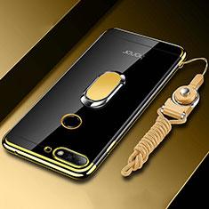 Silikon Hülle Handyhülle Ultradünn Schutzhülle Tasche Durchsichtig Transparent mit Magnetisch Fingerring Ständer S01 für Huawei Y6 (2018) Gold