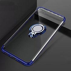Silikon Hülle Handyhülle Ultradünn Schutzhülle Tasche Durchsichtig Transparent mit Magnetisch Fingerring Ständer S01 für Oppo A71 Blau