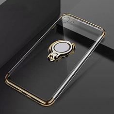 Silikon Hülle Handyhülle Ultradünn Schutzhülle Tasche Durchsichtig Transparent mit Magnetisch Fingerring Ständer S01 für Oppo A71 Gold
