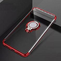 Silikon Hülle Handyhülle Ultradünn Schutzhülle Tasche Durchsichtig Transparent mit Magnetisch Fingerring Ständer S01 für Oppo A71 Rot