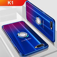 Silikon Hülle Handyhülle Ultradünn Schutzhülle Tasche Durchsichtig Transparent mit Magnetisch Fingerring Ständer S01 für Oppo K1 Blau
