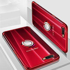 Silikon Hülle Handyhülle Ultradünn Schutzhülle Tasche Durchsichtig Transparent mit Magnetisch Fingerring Ständer S01 für Oppo K1 Rot