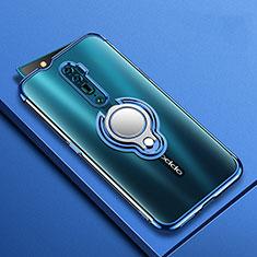 Silikon Hülle Handyhülle Ultradünn Schutzhülle Tasche Durchsichtig Transparent mit Magnetisch Fingerring Ständer S01 für Oppo Reno 10X Zoom Blau
