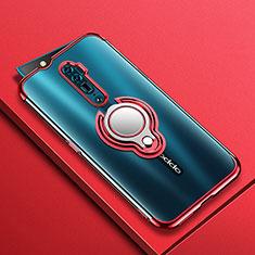 Silikon Hülle Handyhülle Ultradünn Schutzhülle Tasche Durchsichtig Transparent mit Magnetisch Fingerring Ständer S01 für Oppo Reno 10X Zoom Rot