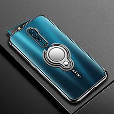 Silikon Hülle Handyhülle Ultradünn Schutzhülle Tasche Durchsichtig Transparent mit Magnetisch Fingerring Ständer S01 für Oppo Reno 10X Zoom Schwarz