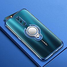 Silikon Hülle Handyhülle Ultradünn Schutzhülle Tasche Durchsichtig Transparent mit Magnetisch Fingerring Ständer S01 für Oppo Reno Blau