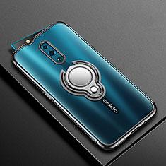 Silikon Hülle Handyhülle Ultradünn Schutzhülle Tasche Durchsichtig Transparent mit Magnetisch Fingerring Ständer S01 für Oppo Reno Schwarz