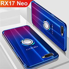 Silikon Hülle Handyhülle Ultradünn Schutzhülle Tasche Durchsichtig Transparent mit Magnetisch Fingerring Ständer S01 für Oppo RX17 Neo Blau