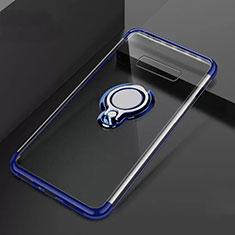 Silikon Hülle Handyhülle Ultradünn Schutzhülle Tasche Durchsichtig Transparent mit Magnetisch Fingerring Ständer S01 für Samsung Galaxy S10 Plus Blau
