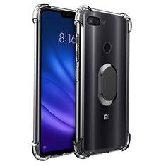 Silikon Hülle Handyhülle Ultradünn Schutzhülle Tasche Durchsichtig Transparent mit Magnetisch Fingerring Ständer S01 für Xiaomi Mi 8 Lite Schwarz