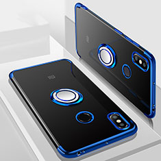 Silikon Hülle Handyhülle Ultradünn Schutzhülle Tasche Durchsichtig Transparent mit Magnetisch Fingerring Ständer S01 für Xiaomi Mi Max 3 Blau