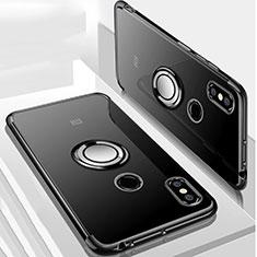 Silikon Hülle Handyhülle Ultradünn Schutzhülle Tasche Durchsichtig Transparent mit Magnetisch Fingerring Ständer S01 für Xiaomi Mi Max 3 Schwarz