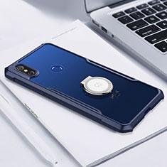 Silikon Hülle Handyhülle Ultradünn Schutzhülle Tasche Durchsichtig Transparent mit Magnetisch Fingerring Ständer S01 für Xiaomi Mi Mix 3 Blau