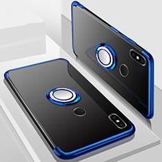 Silikon Hülle Handyhülle Ultradünn Schutzhülle Tasche Durchsichtig Transparent mit Magnetisch Fingerring Ständer S01 für Xiaomi Redmi 6 Pro Blau