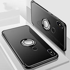 Silikon Hülle Handyhülle Ultradünn Schutzhülle Tasche Durchsichtig Transparent mit Magnetisch Fingerring Ständer S01 für Xiaomi Redmi 6 Pro Schwarz