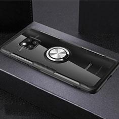 Silikon Hülle Handyhülle Ultradünn Schutzhülle Tasche Durchsichtig Transparent mit Magnetisch Fingerring Ständer S02 für Huawei Mate 20 Pro Plusfarbig
