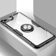 Silikon Hülle Handyhülle Ultradünn Schutzhülle Tasche Durchsichtig Transparent mit Ständer S01 für Apple iPhone 8 Plus Schwarz
