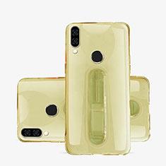 Silikon Hülle Handyhülle Ultradünn Schutzhülle Tasche Durchsichtig Transparent mit Ständer S01 für Huawei P20 Lite Gold
