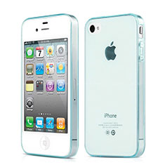 Silikon Hülle Handyhülle Ultradünn Tasche Durchsichtig Transparent für Apple iPhone 4 Hellblau