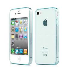 Silikon Hülle Handyhülle Ultradünn Tasche Durchsichtig Transparent für Apple iPhone 4S Hellblau