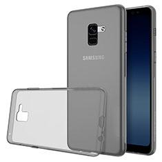 Silikon Hülle Handyhülle Ultradünn Tasche Durchsichtig Transparent für Samsung Galaxy A8 (2018) A530F Grau