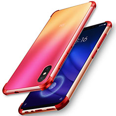 Silikon Hülle Handyhülle Ultradünn Tasche Durchsichtig Transparent für Xiaomi Mi 8 Screen Fingerprint Edition Rot