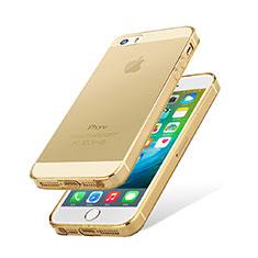 Silikon Hülle Handyhülle Ultradünn Tasche Durchsichtig Transparent HT01 für Apple iPhone 5 Gold