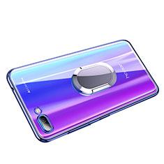 Silikon Hülle Handyhülle Ultradünn Tasche Durchsichtig Transparent mit Fingerring Ständer für Huawei Honor 10 Blau