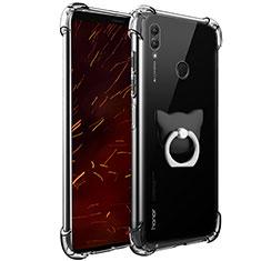 Silikon Hülle Handyhülle Ultradünn Tasche Durchsichtig Transparent mit Fingerring Ständer für Huawei Honor Note 10 Klar