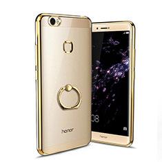 Silikon Hülle Handyhülle Ultradünn Tasche Durchsichtig Transparent mit Fingerring Ständer für Huawei Honor V8 Max Gold