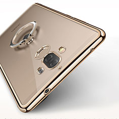 Silikon Hülle Handyhülle Ultradünn Tasche Durchsichtig Transparent mit Fingerring Ständer für Huawei Mate 9 Gold