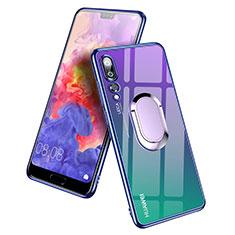 Silikon Hülle Handyhülle Ultradünn Tasche Durchsichtig Transparent mit Fingerring Ständer für Huawei P20 Pro Blau