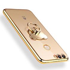 Silikon Hülle Handyhülle Ultradünn Tasche Durchsichtig Transparent mit Fingerring Ständer für Huawei Y9 (2018) Gold
