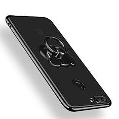 Silikon Hülle Handyhülle Ultradünn Tasche Durchsichtig Transparent mit Fingerring Ständer für Huawei Y9 (2018) Klar