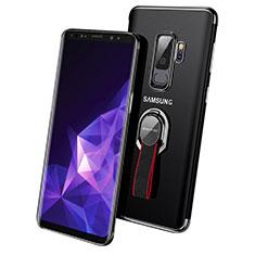 Silikon Hülle Handyhülle Ultradünn Tasche Durchsichtig Transparent mit Fingerring Ständer für Samsung Galaxy S9 Plus Schwarz