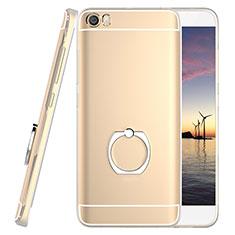 Silikon Hülle Handyhülle Ultradünn Tasche Durchsichtig Transparent mit Fingerring Ständer für Xiaomi Mi 5 Gold