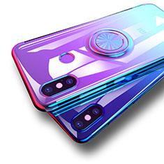 Silikon Hülle Handyhülle Ultradünn Tasche Durchsichtig Transparent mit Fingerring Ständer für Xiaomi Mi 8 Blau