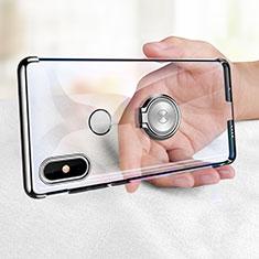 Silikon Hülle Handyhülle Ultradünn Tasche Durchsichtig Transparent mit Fingerring Ständer für Xiaomi Mi Mix 2S Klar