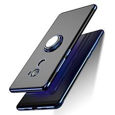 Silikon Hülle Handyhülle Ultradünn Tasche Durchsichtig Transparent mit Fingerring Ständer für Xiaomi Mi Mix Evo Blau