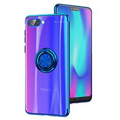 Silikon Hülle Handyhülle Ultradünn Tasche Durchsichtig Transparent mit Fingerring Ständer S01 für Huawei Honor 10 Blau
