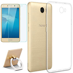 Silikon Hülle Handyhülle Ultradünn Tasche Durchsichtig Transparent mit Fingerring Ständer und Schutzfolie für Huawei Honor Play 5 Klar