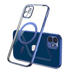 Silikon Hülle Handyhülle Ultradünn Tasche mit Mag-Safe Magnetic Magnetisch Durchsichtig Transparent M01 für Apple iPhone 12 Blau