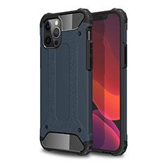 Silikon Hülle Handyhülle und Kunststoff Schutzhülle Hartschalen Tasche für Apple iPhone 12 Pro Blau