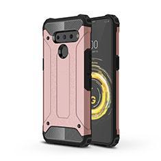 Silikon Hülle Handyhülle und Kunststoff Schutzhülle Hartschalen Tasche für LG V50 ThinQ 5G Rosegold